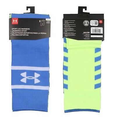 NWT UNDER ARMOUR Women's UA  Sport Leg Warmers Blue / Lime  2 Pack 1294730