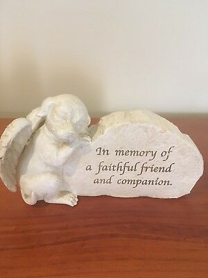 Pet Memorial Dog Stone Grave Marker Statue Plaque Pet Loss Faithful Friend