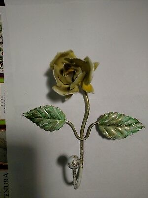 vintage Italian Toleware yellow rose flower wall hook