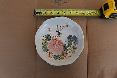 Small antique Chinese porcelain plate, hand painted, signed