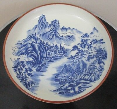Japanese Blue white bowl serving plate Signed