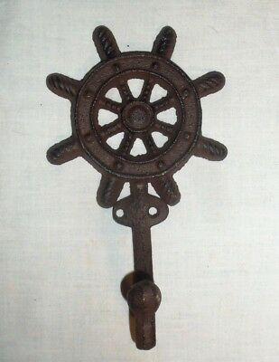 Large Cast Iron Ships Wheel Towel / Coat Hook With Rustic Finish Nautical Decor