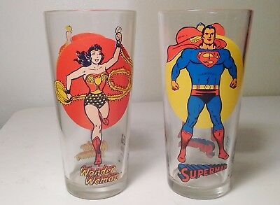 Lot Of 2 - 1976 Pepsi Super Series Superman And Wonder Woman Glasses Mint