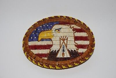 NATIVE AMERICAN Beaded Belt Buckle with Quillwork Eagle