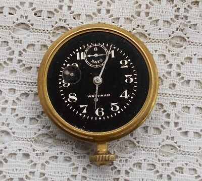 "RARE Vintage Antique 2.75"" Brass Auto Car Clock Waltham 8 Days Wind Up LOOK NR"