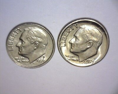 """1974 P Roosevelt Dime,broad Strike >Cent Size< """"stretched Letters"""" Us Error Coin"""