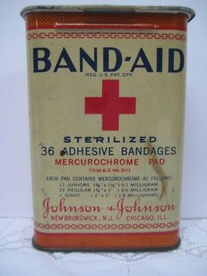 Vintage Band Aid Band-Aid Tin Red Cross Sterilized 1930's? Hinged Metal