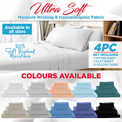 1000TC Ultra Soft 4 Pc Flat & Fitted Bed Sheet Set Pillowcases Single/Queen/King