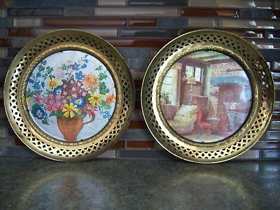 """Vintage Solid Brass Foil Print Wall Hangings - 8 1/2"""" dia. - 2 pictures"""