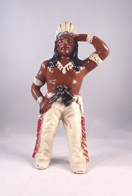 "Antique Hubley Native American Indian Chief Cast Iron Coin Bank 6"" Orig Paint!"