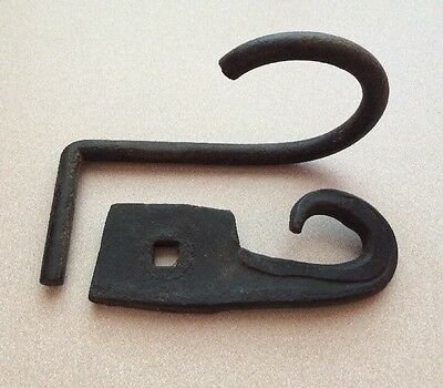Antique Vintage Iron Primitive Barn Coat Harness Plant Hook Wall Hangers (2)