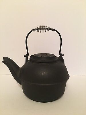 """Vintage Cast Iron Black Kettle Taiwan With Removable Lid 12"""" Tall With Handle"""