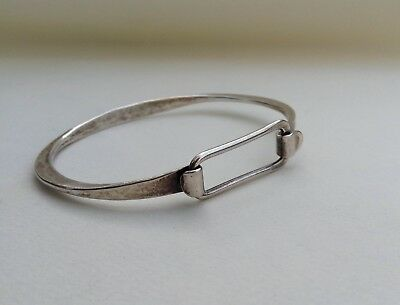 Vintage Modern Wrought Sterling Silver Bracelet Hinged Planish Clasp Tip Bangle