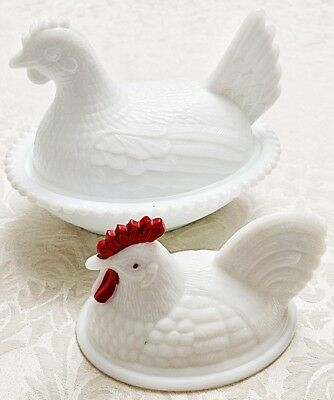 3 Pcs Chicken Glass,  1 Vintage Westmoreland White Milk Glass Rooster, Lid Only