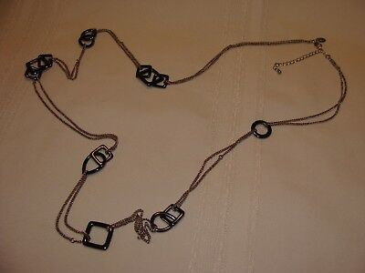 Lia Sophia Necklace Silver Tone Chain Hematite Links Long 41 Inches
