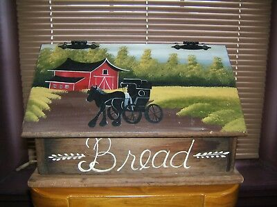 Vintage Wood Bread Box Rustic Farm Country Kitchen Countertop Amish buggy farm