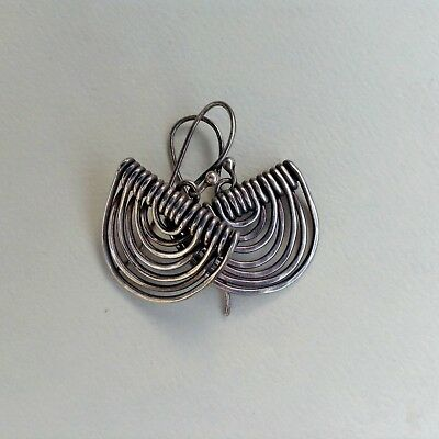 Vintage Sterling Silver Earring Calder-esque Wrought Draped Wire Drop Earwires