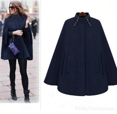 1e442a3fc Chic Women Batwing Wool Blend Cloak Cape Winter Evening Party Dress Poncho  Coat