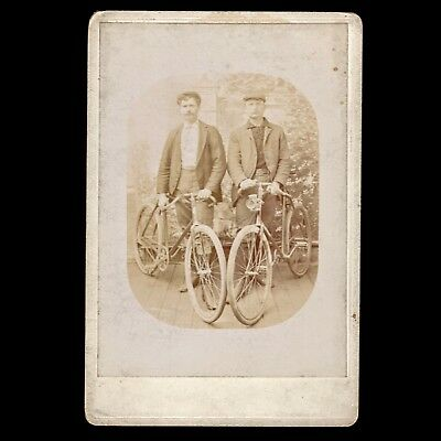 Unusual Antique 1800s Victorian Cabinet Card Men W/ Bicycles Simpson Pathracer