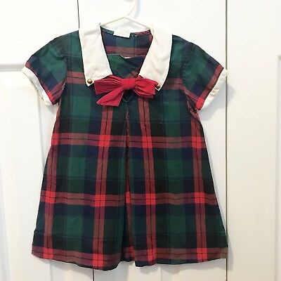 Vintage Cinderella Toddler Girls Dress Green Red Blue Plaid Pussybow School 3/4