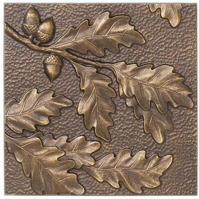 Antique Copper Finish Whitehall Products 8 in. Oak Leaf Aluminum Wall Decor