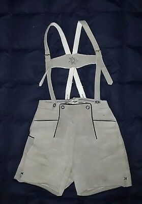Authentic Vintage High-Quality Gray /Green Suede Leather Lederhosen Child Size
