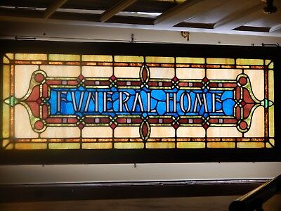 "antique stain glass window rare 60""x23"" minty."