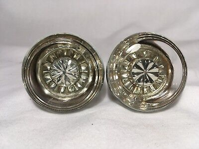 Pair Antique Glass Door Knobs Clear Passage Victorian Architecture Salvage 2 VTG