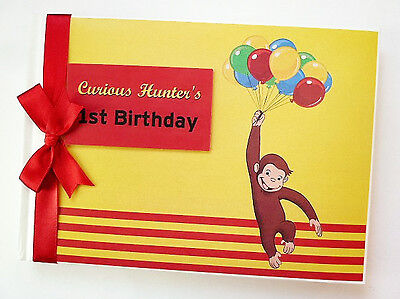 Personalised Curious George 1St Birthday Guest Book - Any Design