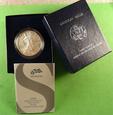 2008-W Burnished American Silver Eagle Uncirculated w/COA and Box * Ebay Bux *