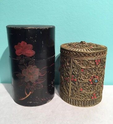 2 Vintage Canisters Metal Tin Brass Enamel China Lot As Is