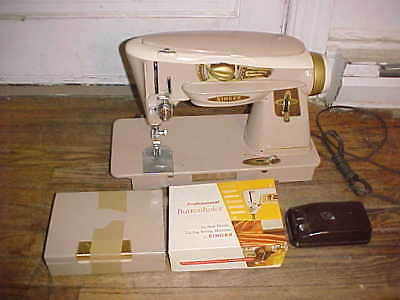 Vintage Singer 500A Rocketeer Slant-O-Matic Sewing Machine w/ Accessories