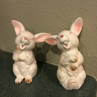 2 Vintage Lefton White Laughing Bunny Rabbits Bunnies With Foil Labels Japan