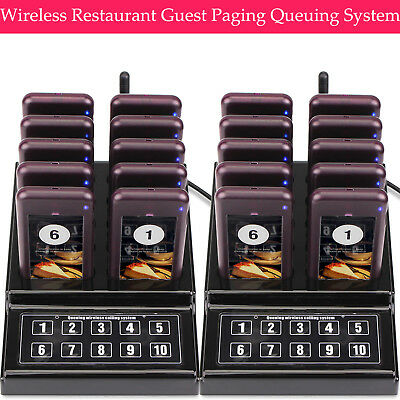 Wireless Restaurant Guest Calling Paging Queuing System 2*Transmitter+20*Pagers