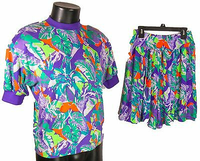 90s Vintage Hippy Festival T Shirt & Shorts Purple Abstract Made USA Small