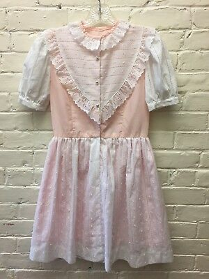 Vintage Girl L XL Lace Pink Prairie Dress Lined