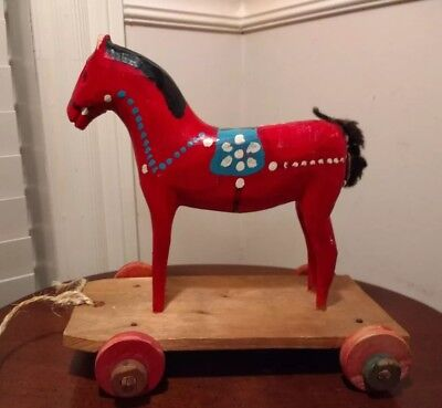 Vintage Antique Swedish Wood Painted DALA HORSE Pull Toy on Platform with Wheels