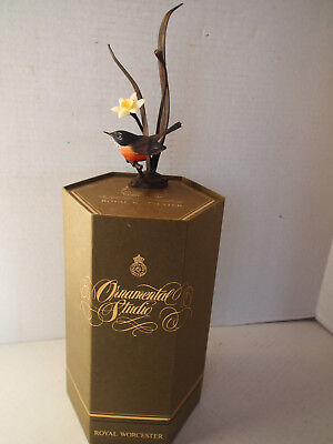 LTD Royal Worcester Bronze & Porcelain American Robin Figure w Original Box Rare