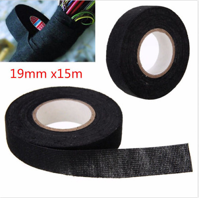 2X Wiring Harness Tape Looms Cable Protection Adhesive Fabric For Car 19MM x 15M