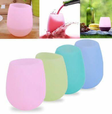 Unbreakable BBQ Silicone Cup Wine Glass Stemless Beer Whiskey Collapsible AU FQ