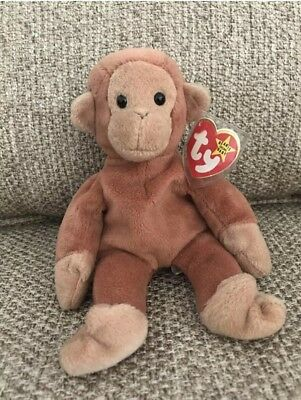 RARE Ty Beanie Baby Bongo Monkey 1995 No Stamp No Red Star Defects PVC