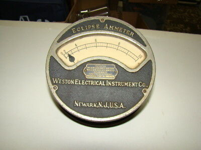 Eclipse Ammeter Model 159 Weston Electrical Instrument Newark NJ Steampunk 1910
