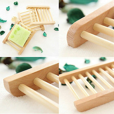 Natural Wood Soap Tray Holder Dish Box Case Storage Novelty Shower Wash New GTFR