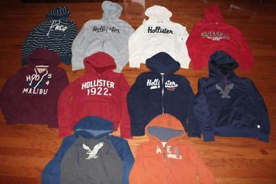Lot Of 10 Hollister & American Eagle Mens Hoodies Hooded Sweatshirts All Small