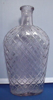 Vintage Slight Amethyst Coffin Shaped Glass Flask Bottle  - Diamond Quilted