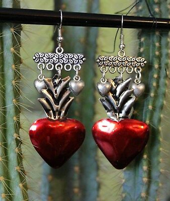 Fun Red Tin Sacred Heart Chandelier Earrings Mexican Folk Art Hippie Fiesta Boho