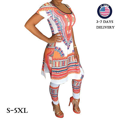 Plus Size Print Tee Pants Suit Short Sleeve Shirt 2 Pieces Outfit Sets Summer US