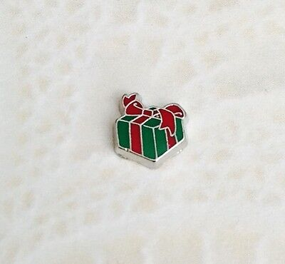 CHRISTMAS PRESENT Red Green Silver Floating Charm for Living Memory Lockets