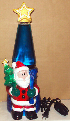 Lava Lite Brand Ceramic Holiday Icon Series SANTA Christmas Tree Lamp NEW IN BOX