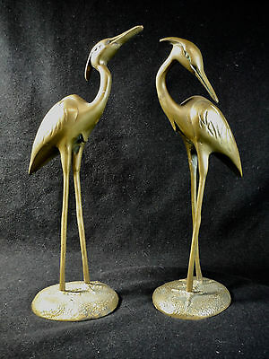 ANTIQUE Vintage PAIR CAST BRASS HERONS Egrets Cranes RARE SET Indoor Outdoor EUC